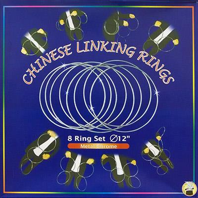 Chinese Linking Rings (12 inch, CHROME) by Vincenzo Di Fatta - Trick